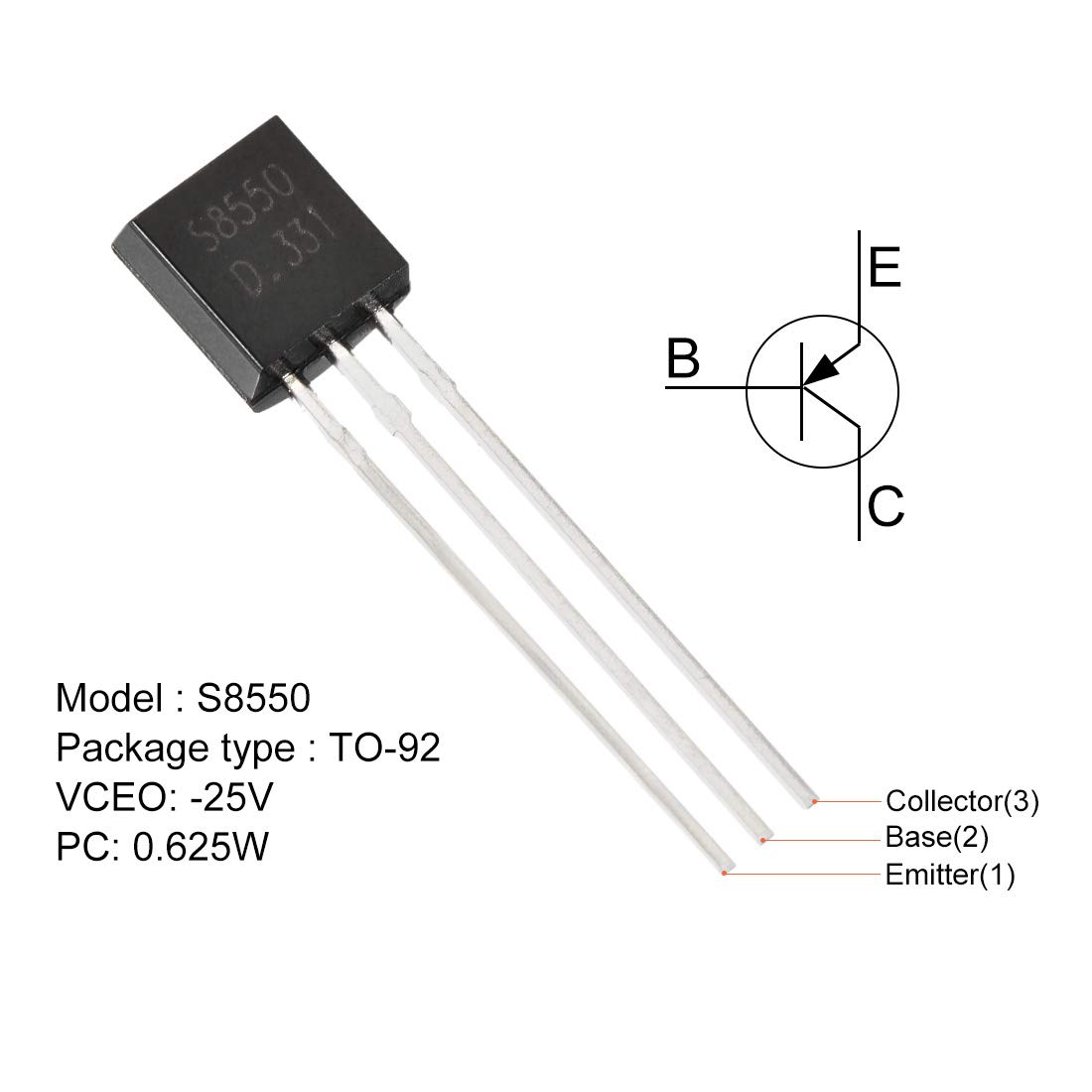 1.5A 1W uxcell 100PCS SS8550 PNP Transistor TO-92-25V
