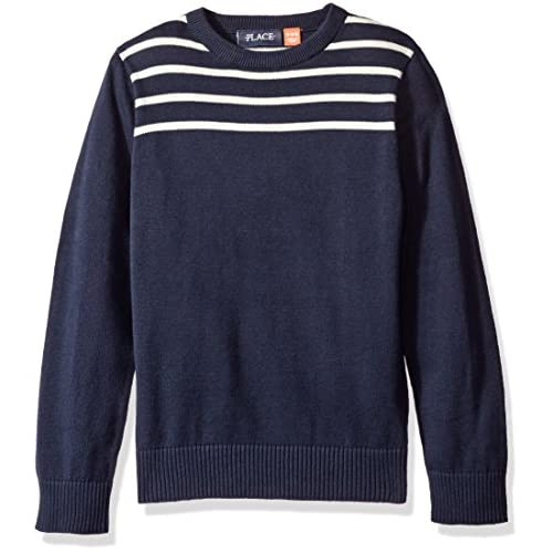 discount The Children's Place Boys' Big Boys' Striped Crewneck Pullover Sweater