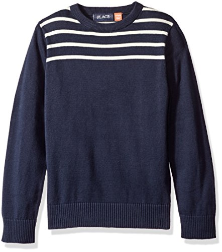 The Children's Place Boys' Big Boys' Striped Crewneck Pullover Sweater, Blue, L (10/12)