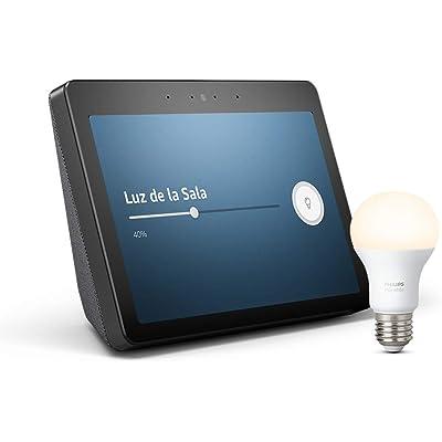 Echo Show (2.ª generación) – Mantén el contacto con la ayuda de Alexa, negro +Bombilla Philips Hue White LED E27
