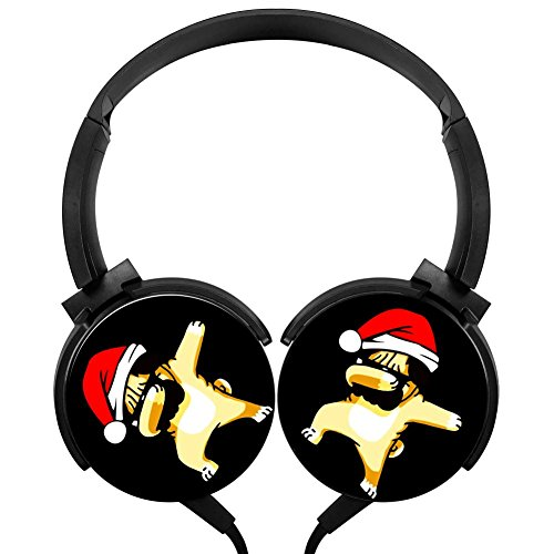 Dabbing Pug with Santa Hat Wired Headphones Costume Foldable Over Ear Headphones Headsets for Boys Girls
