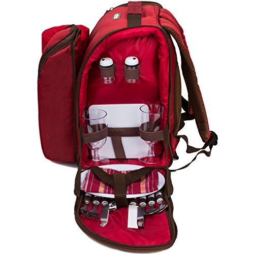 TAWA 2 Person Red Picnic Backpack with Cooler Compartment includes Tableware & Fleece Blanket (red)