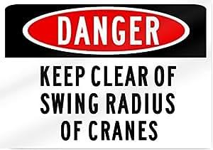 Danger Keep transparente de señal de la grúa 14cm de ancho x 10cm de alto