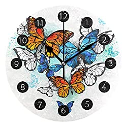 Tarity Silent Round Wall Clock, Colorful Butterfly Decorative Quiet Non Ticking Battery Operated Art Wall Clocks for Living Room Bedroom Office Kitchen Kids