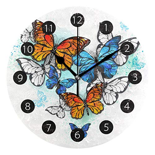 (Tarity Silent Round Wall Clock, Colorful Butterfly Decorative Quiet Non Ticking Battery Operated Art Wall Clocks for Living Room Bedroom Office Kitchen Kids)