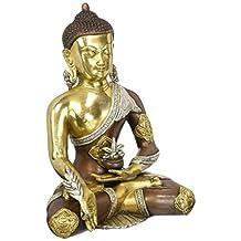 "Aone India 12.5"" Large Buddha Bronze Statue Astmangal Medicine Buddha Sculpture -Hand carved Tibetian Buddha statue + Cash Envelope (Pack Of 10)"