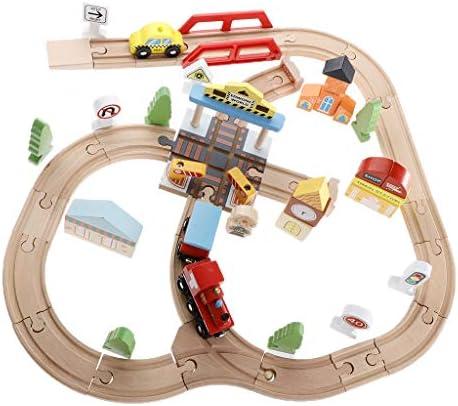 DYNWAVE 44ピース/個木製鉄道トラックシティ鉄道交通セット