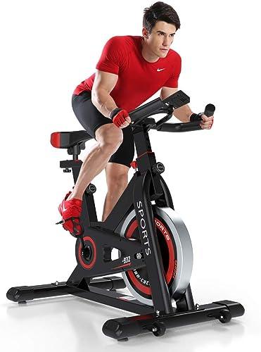 Yoleo Exercise Bikes 2020 New Version , Indoor Cycling Bike, Stationary, Bidirectional Flywheel, Silent Belt Drive, Infinite Resistance, LCD Displays, Handlebar, Pulse Sensor