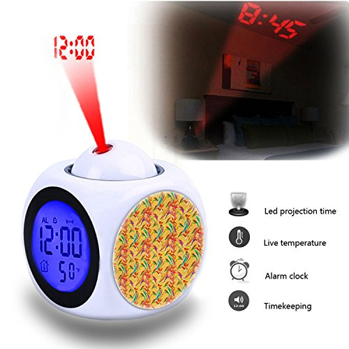 Bird Of Paradise Display - Projection Alarm Clock Wake Up Bedroom with Data and Temperature Display Talking Function, LED Wall/Ceiling Projection,Customize the pattern-670.Pattern, Seamless, Floral, Flower, Bird Of Paradise