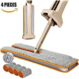 Professional Double Sided 360 Mop Easy Self Wringing Squeeze Flat Floor Wet & Dry Microfiber Cloth lazy Slippers ,Stainless Steel Handle Bathroom, Kitchen, Wall, Tile and Hardwood Floor(2 Cloths & 2 C