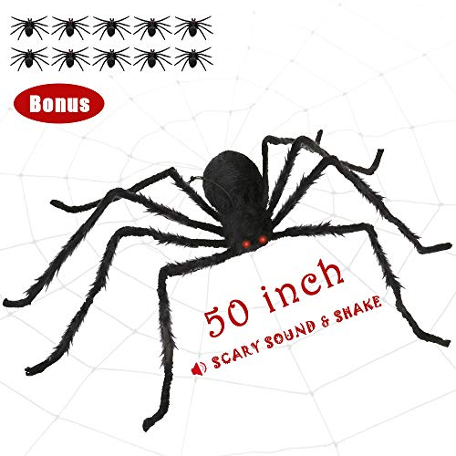 Trunk Or Treats (SUNBA YOUTH Halloween Spider,Fake Large Hairy Spider Halloween Decoration with Scary LED Red Eyes and Spooky Sound, Quake Spider Props for Outdoor Yard)