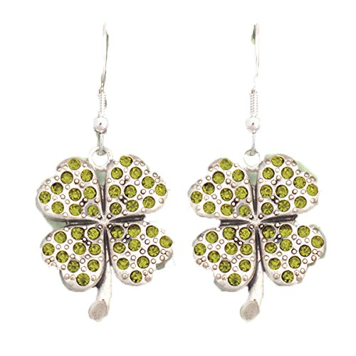 - St Patrick's Day SHAMROCK Earrings are Embellished in Green Crystal Rhinestones Green Crystal Rhinestones