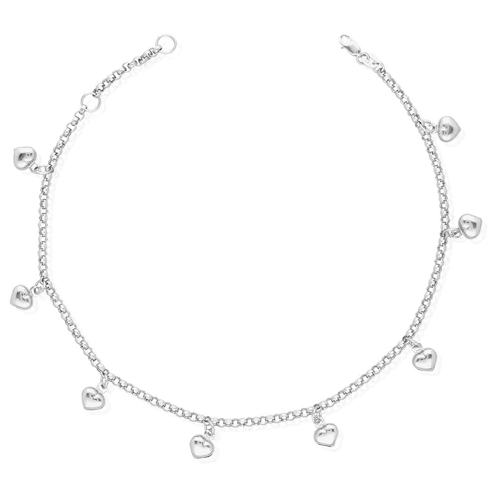 14k Yellow Gold White Gold Tri-Color Gold Heart Charm Hollow Anklet Bracelet 9'' 10'', White Gold