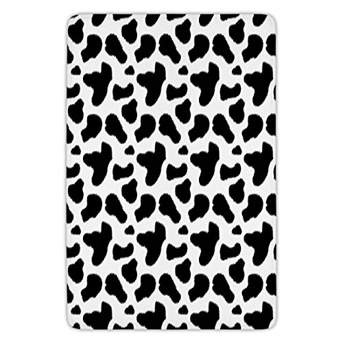 Bathroom Bath Rug Kitchen Floor Mat Carpet,Cow Print,Cow Hide Pattern with Black Spots Farm Life with Cattle Camouflage Animal Skin,White Black,Flannel Microfiber Non-slip Soft Absorbent by iPrint