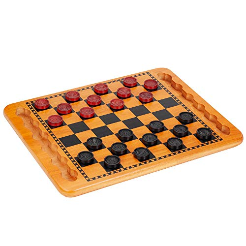 checkers board game wooden - 1