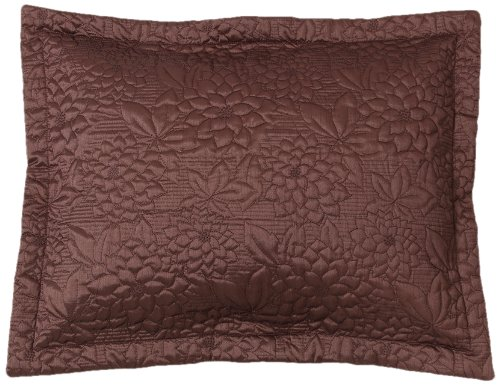 Stylemaster Twill and Birch Gardenia Embroidered Quilted Sham Standard, Espresso
