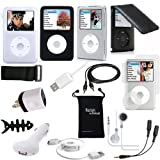 iPod Classic Case, DigitalsOnDemand 15-Item Accessory Bundle for Apple iPod Classic 160GB 7th Gen + 120GB 6th Gen- Black Leather Flip Case, TPU Skin Cover, Screen Protector, USB Cables + Chargers