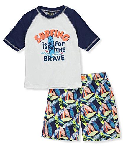 iXtreme Little Boys' Surf Board Rash Guard Set, Navy, 7