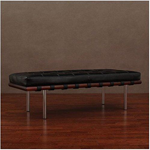 NEW Black Leather & Walnut Wood Bench Modern Seat Chrome Legs Contemporary