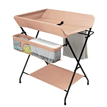d7c8a2c05ca2 Amazon.com : Foldable Baby Changing Table Diaper Station for Small Spaces  with Storage, Nursery Massage Station Dresser for Infant Cross Leg Style  (Color ...