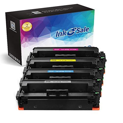 INK E-SALE Compatible Toner Cartridge Replacement for HP 410A 410X CF410X CF411X CF412X CF413X (KCMY, 4 Pack), for use with HP Color Laserjet Pro MFP M452dn M452nw M452dw,Pro M477fnw M377dw M477fdw