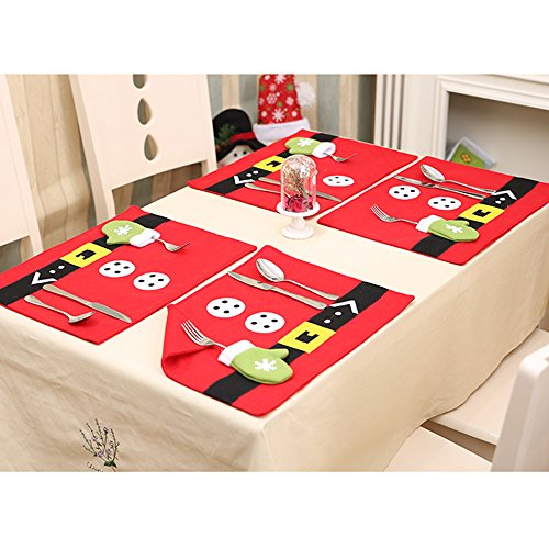 - LOHOME Christmas Tableware Mat - Set of 6 Santa Christmas Holiday Table Placemats Dinner Mat Tableware Decoration