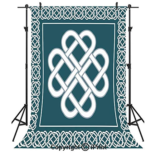 Irish Photography Backdrops,Celtic Love Knot Symbol of Good Fortune Framework Border Historical Amulet Design Decorative,Birthday Party Seamless Photo Studio Booth Background Banner 3x5ft,Blue and Whi