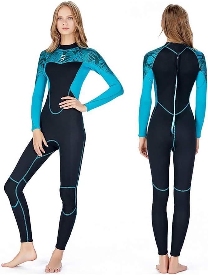 厚さ2mm ネオプレン フルレングス ウェットスーツ ネオプレンサーフスーツ サーフ カヤック ボディボード ウォータースポーツ用 ブラック&ブルー XX-Large