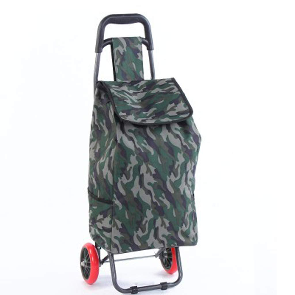 RYYAIYL Large Wheeled Shopping Trolley Lightweight Bag Folding Cart Strong Travel Beach Holiday Grocery Camping Caravan Bag Color : Blue Camouflage