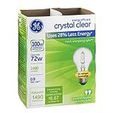 GE 78798-12 Halogen Crystal Clear A19 Bulb, 72-Watt, 6 2-Packs (Total 12 Bulbs)
