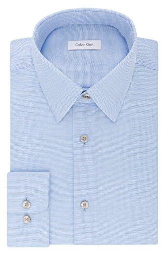 Calvin Klein Men's Dress Shirts Non Iron Regular Fit Stretch Unsolid Solid, Stream, 16
