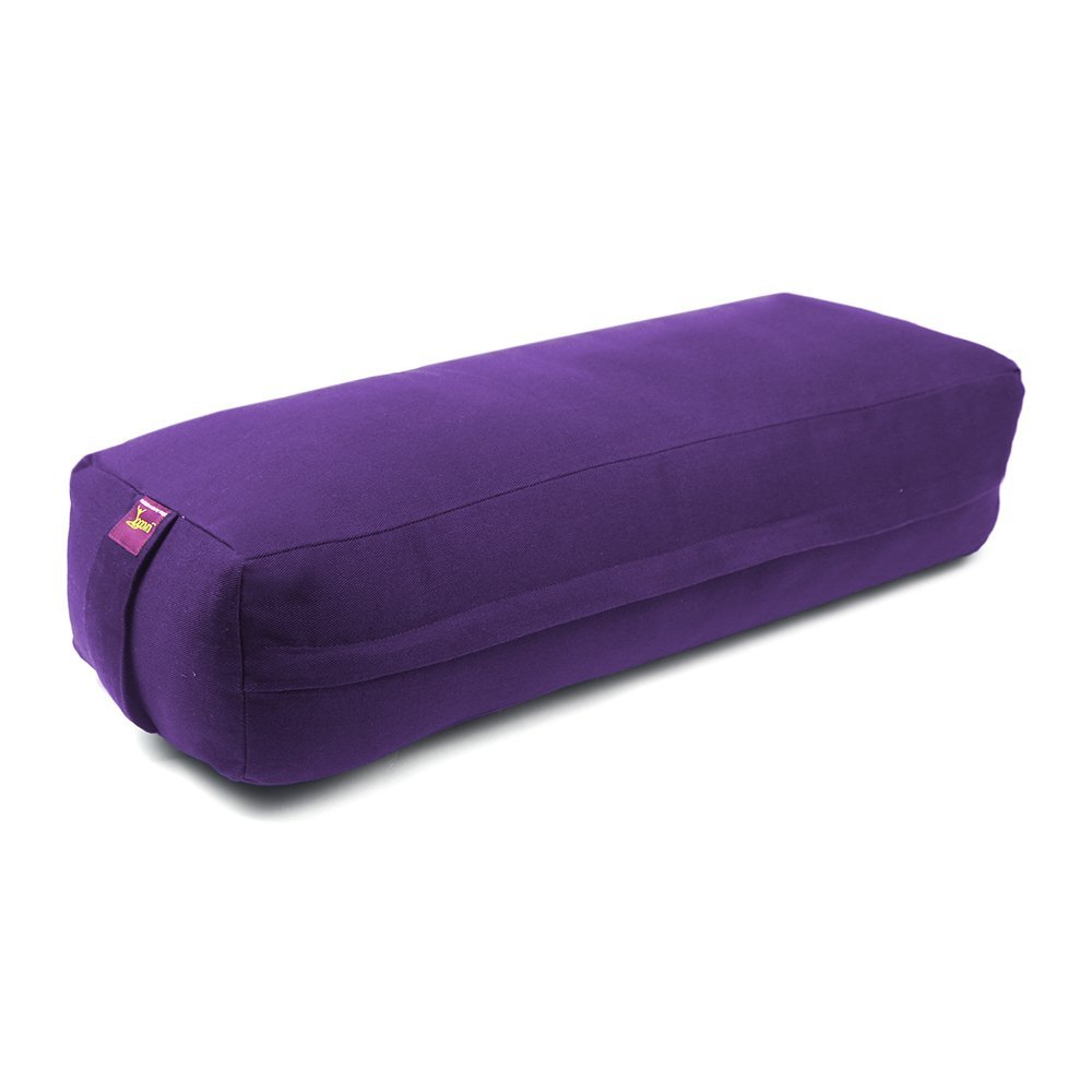Rectangular Yoga Bolster - Removable Canvas Cover, Natural Cotton Filling by Yogavni(TM) (Purple, Long)
