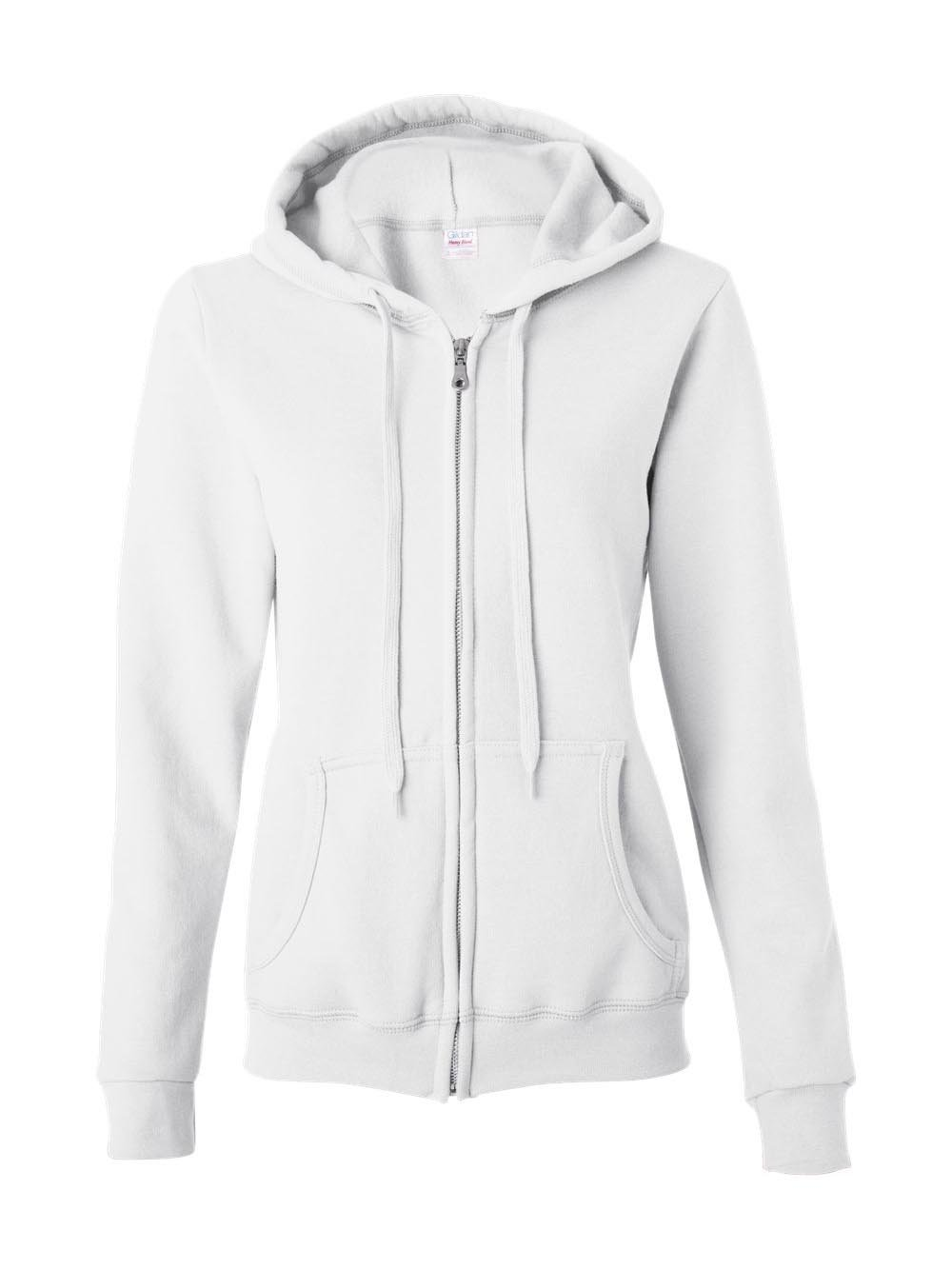 Gildan Womens Heavy Blend 8 oz. 50/50 Full-Zip Hood(G186FL)-White-M