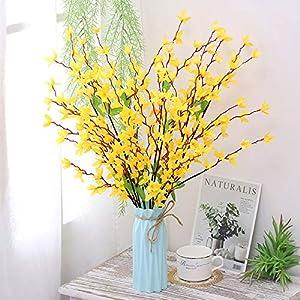 Nadalan Artificial Flower Arrangements Bulk with Vase Fake Rose Silk Plastic Flowers for Home Decor Desk Garden Party Wedding Decoration 10