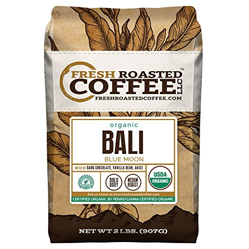 Bali Blue Moon Organic, Rain Forest Alliance, Whole Bean coffee, Fresh Roasted Coffee LLC. (2 lb.)