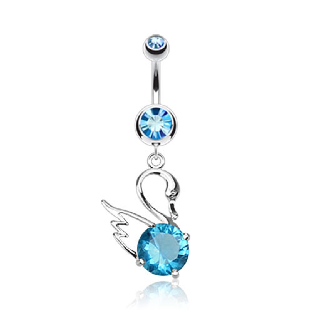 Sold Separately Dynamique Swan With Dazzling CZ Gem Navel Ring