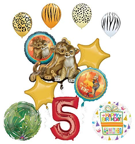 Lion King Party Supplies 5th Birthday Balloon Bouquet - Party Birthday Lion