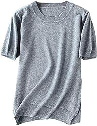 DAIMIDY Women's Summer T Shirt, Cashmere & Linen Blend