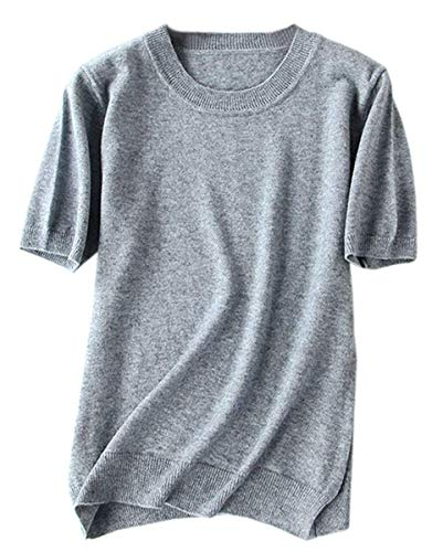 (Women's Short Sleeves Knitted Cashmere Sweater Tops T Shirt Blouse, Light Grey, Tag 5XL = US XL)