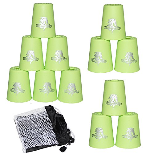 Amhii Quick Stack Cups Set of 12 with Quick Release Stem - Sports Stacking Cups Speed Training (Green)