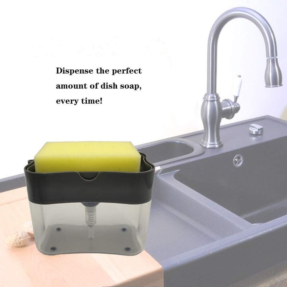 dispensador de jab/ón soporte de esponja para fregadero negro gris TAECOOOL Dispensador de jab/ón utensilios de cocina dispensador de jab/ón