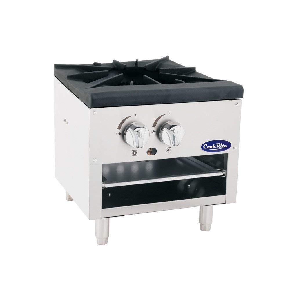 Cook Rite ATSP-18-1L Single Stock Pot Stove Liquid Propane Stainless Steel Countertop Portable Commercial Burner Range - 80,000 BTU