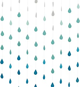 Cieovo 4 Set Gradual Colors Paper Raindrop Garland For Nursery decor April showers Spring Shower Raindrop Baby Shower (Gradual Blue)