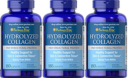 - Hydrolyzed Collagen 1000 mg - 180 Caplets 3 Bottles Total of 540 Caplets