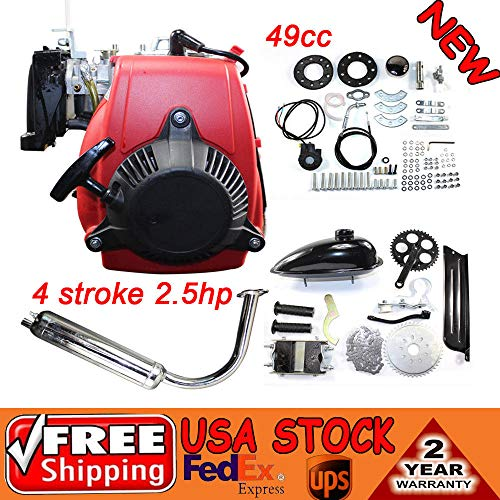 DY19BRIGHT Motorized Bicycle Kit Bike Engine Kit Single Cylinder 49CC 4-Stroke 142F Air-cooled System w/Double Chain Drive Fits normal 28