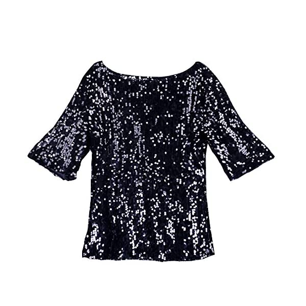 Glistening Sequin Cocktail Club Party Top Shimmer Glam Glitter Plus Size T-Shirt