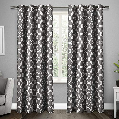 Exclusive Home Curtains Gates Sateen Blackout Thermal Window Curtain Panel Pair with Grommet Top, 52x84, Black Pearl, 2 Piece