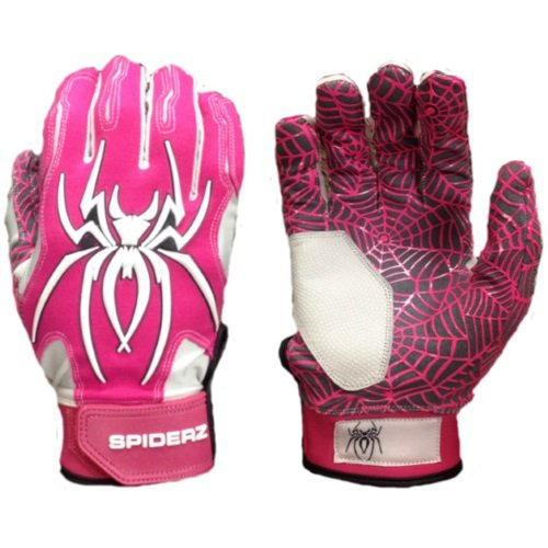 2016 Spiderz Pink/White HYBRID Baseball/Softball Batting Gloves w/Spider Web Grip and Protective Top Hand in Adult & Youth Sizes - Professional (PRO) Quality (Adult Medium, M) (Amp Top)