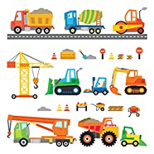 Decowall DS-8012 Construction Site Cars Island Kids Wall Stickers Wall Decals Peel and Stick Removable Wall Stickers for Kids Nursery Bedroom Living Room (Small)