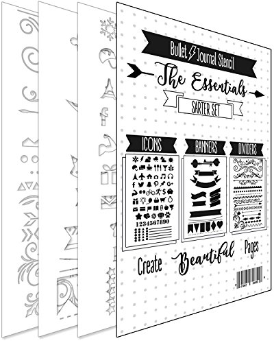 BULLET JOURNAL STENCIL KIT - Banners, Dividers, & Icons | Fits Leuchtturm & Moleskine A5 Notebooks | Best used with Huhuhero Fineliners & Sakura Micron Pens